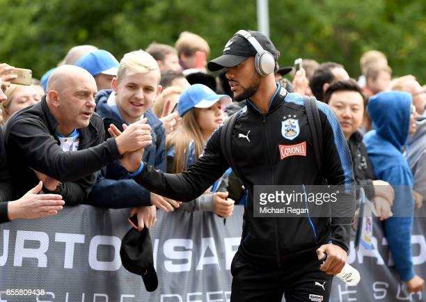 Elias Kachunga of Huddersfield Town arrives at the stadium prior to the Premier League match between Huddersfield Town and Tottenham Hotspur at John...
