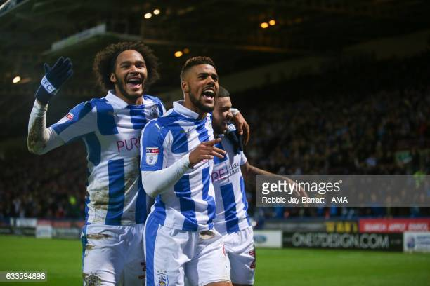 Elias Kachunga of Huddersfield Town celebrates after scoring a goal to make it 31 during the Sky Bet Championship match between Huddersfield Town and...