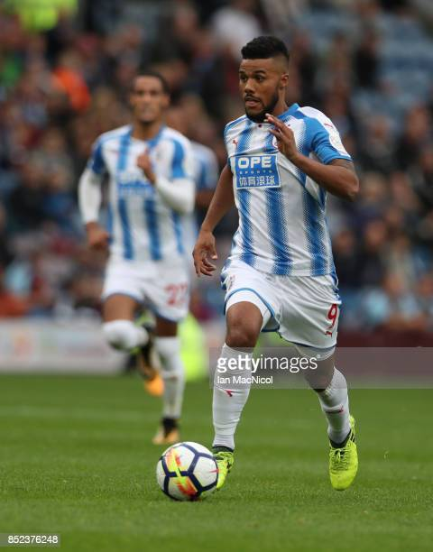 Elias Kachunga of Huddersfield Town controls the ball during the Premier League match between Burnley and Huddersfield Town at Turf Moor on September...