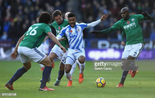 Elias Kachunga of Huddersfield Town in action during the Premier League match between Huddersfield Town and West Bromwich Albion at John Smith's...