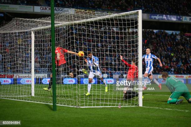Elias Kachunga of Huddersfield Town scores a goal to make it 31 during the Sky Bet Championship match between Huddersfield Town and Brighton Hove...
