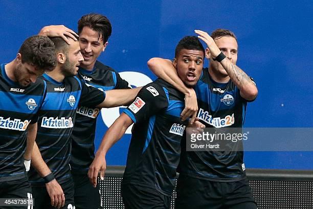 Elias Kachunga of Paderborn ccelebrates after scoring their first goal during the Bundesliga match between Hamburger SV and SC Paderborn 07 at Imtech...