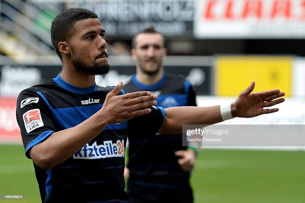 Elias Kachunga of Paderborn celebrates after scoring the opening goal during the Bundesliga match between SC Paderborn 07 and FC Augsburg at Benteler...