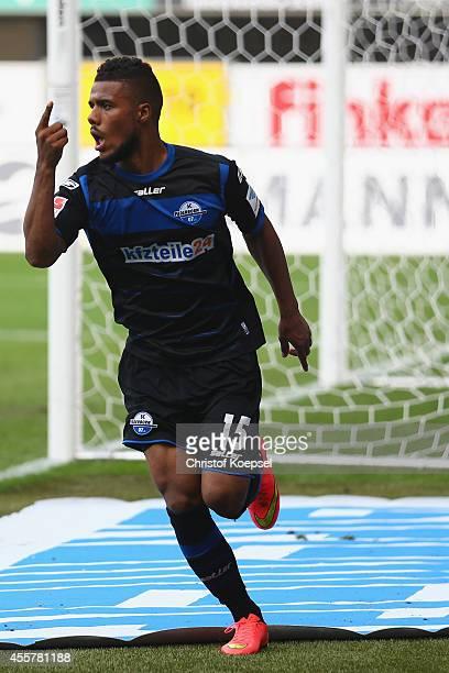 Elias Kachunga of Paderborn celebrates the first goal during the Bundesliga match between SC Paderborn and Hannover 96 at Benteler Arena on September...