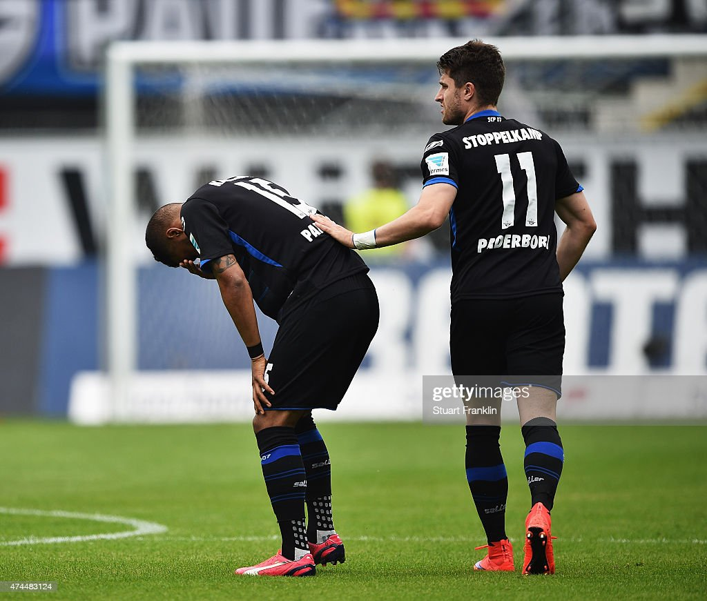 Elias Kachunga of Paderbornlooks dejected during the Bundesliga match between SC Paderborn 07 and VfB Stuttgart at Benteler Arena on May 23 2015 in...