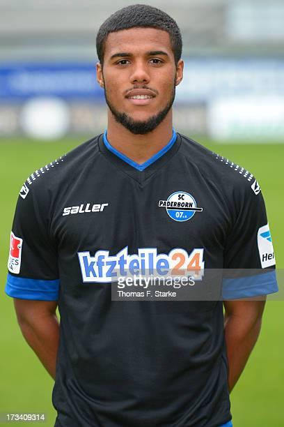 Elias Kachunga poses during the SC Paderborn team presentation at the Benteler Arena on July 12 2013 in Paderborn Germany