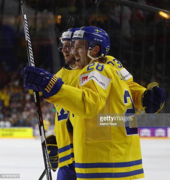 Elias Lindholm of Sweden celebrates scoring his goal during the 2017 IIHF Ice Hockey World Championship game between Sweden and Russia at Lanxess...