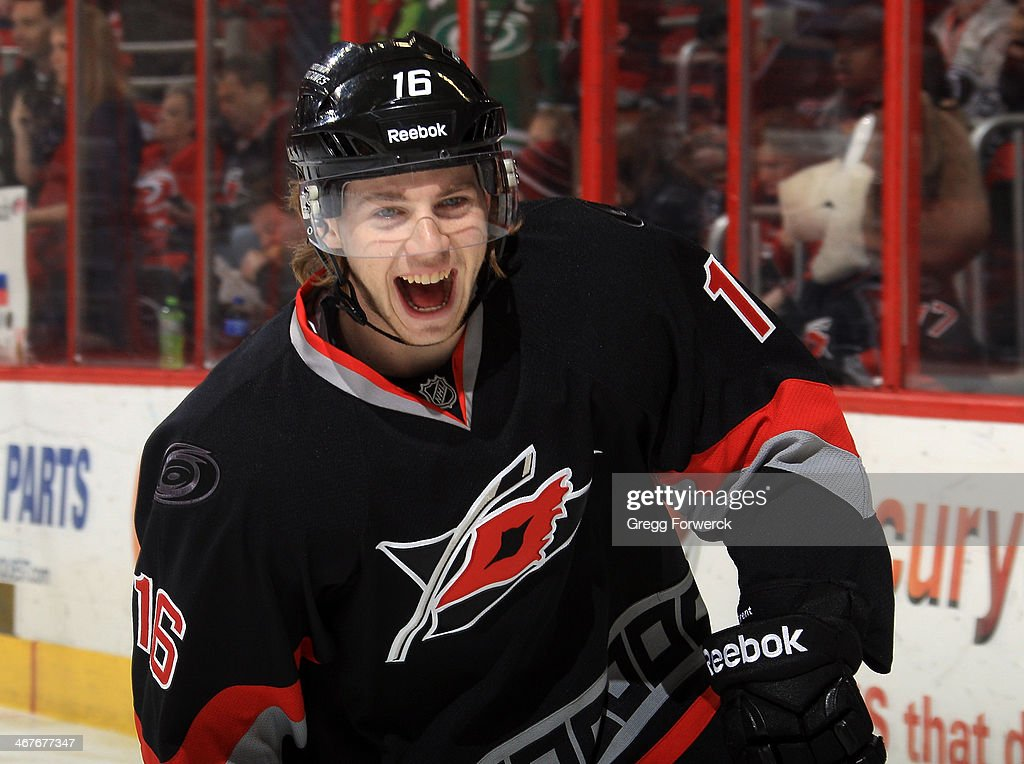 <a gi-track='captionPersonalityLinkClicked' href=/galleries/search?phrase=Elias+Lindholm&family=editorial&specificpeople=8613151 ng-click='$event.stopPropagation()'>Elias Lindholm</a> #16 of the Carolina Hurricanes participates in warmups prior to an NHL game against the Florida Panthers at PNC Arena on February 7, 2014 in Raleigh, North Carolina. This is the first of back-to-back games the Hurricanes have at home prior to the Olympic break.