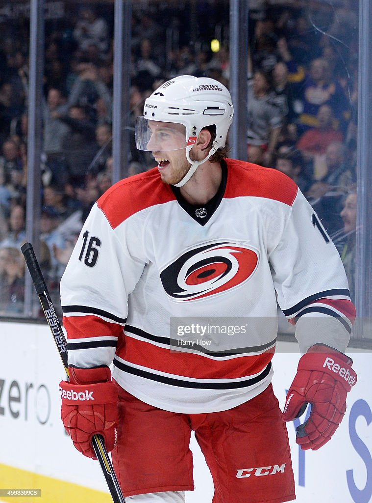 <a gi-track='captionPersonalityLinkClicked' href=/galleries/search?phrase=Elias+Lindholm&family=editorial&specificpeople=8613151 ng-click='$event.stopPropagation()'>Elias Lindholm</a> #16 of the Carolina Hurricanes reacts to a <a gi-track='captionPersonalityLinkClicked' href=/galleries/search?phrase=Jonathan+Quick&family=editorial&specificpeople=2271852 ng-click='$event.stopPropagation()'>Jonathan Quick</a> #32 of the Los Angeles Kings glove save during the last minute of play in the third period at Staples Center on November 20, 2014 in Los Angeles, California. The Kings won 3-2.