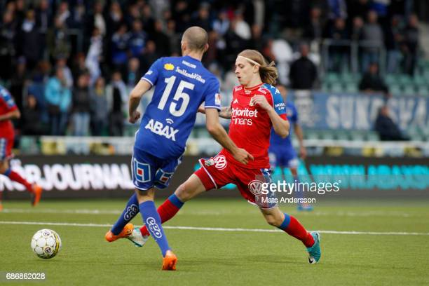 Elias Mar Omarsson of IFK Goteborg and Marcus Danielsson of GIF Sundsvall during the Allsvenskan match between GIF Sundsvall and IFK Goteborg at...