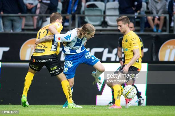 Elias Mar Omarsson of IFK Goteborg fight for the ball with Joakim Nilsson of IF Elfsborg and Adam Lundqvist of IF Elfsborg during the Allsvenskan...