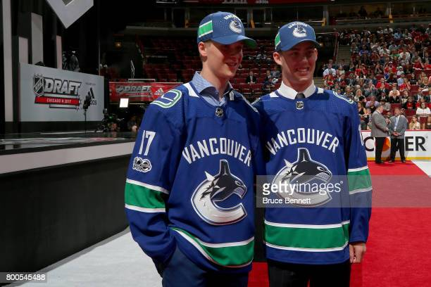 Elias Pettersson left and Kole Lind pose for photos after being drafted by the Vancouver Canucks during the 2017 NHL Draft at the United Center on...