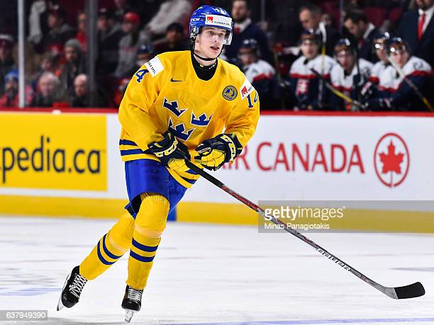 Elias Pettersson of Team Sweden skates during the 2017 IIHF World Junior Championship quarterfinal game against Team Slovakia at the Bell Centre on...