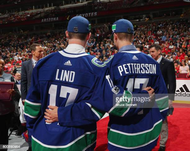 Elias Pettersson right and Kole Lind pose for photos after being drafted by the Vancouver Canucks during the 2017 NHL Draft at the United Center on...