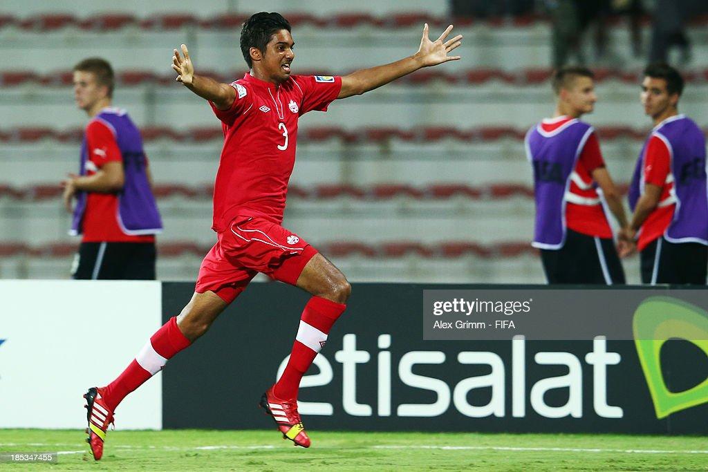 Elias Roubos of Canada celebrates his team's second goal during the FIFA U-17 World Cup UAE 2013 Group E match between Canada and Austria at Al Rashid Stadium on October 19, 2013 in Dubai, United Arab Emirates.