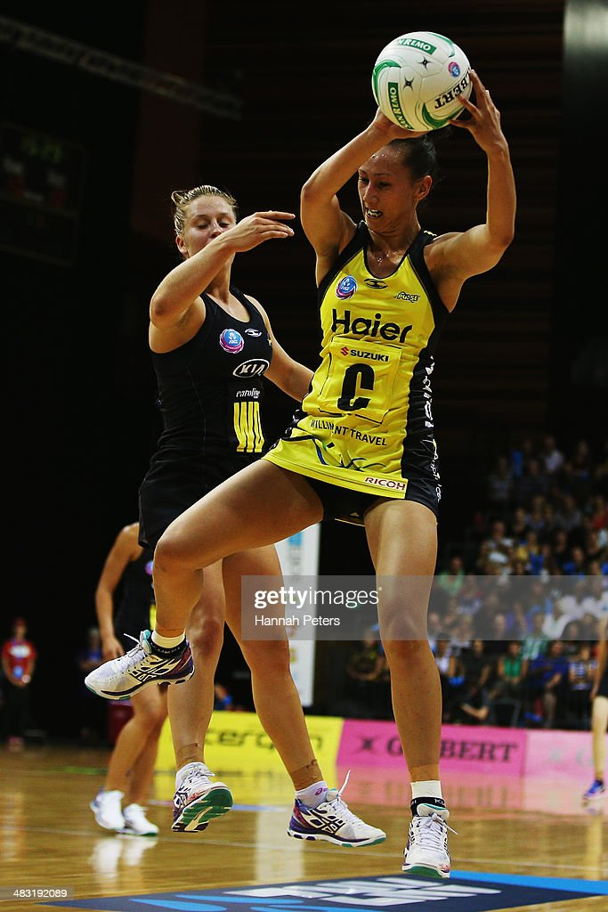 Elias Shadrock of the Pulse collects the ball during the ANZ Championship match between the Magic and the Pulse on April 7, 2014 in Auckland, New Zealand.