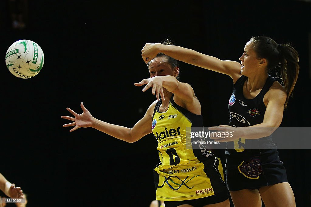 Elias Shadrock of the Pulse competes against Courtney Tairi of the Magic during the ANZ Championship match between the Magic and the Pulse on April 7, 2014 in Auckland, New Zealand.