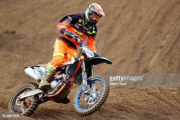 Elias Stapel of Germany in action during the International German Motocross Championships on July 15 2017 in Tensfeld Germany