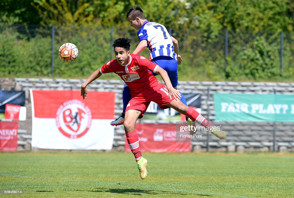 Elias Tamim of 1 FC Union Berlin and Sebastian Mach of Hertha BSC During the C-juniors cup match between 1 FC Union Berlin and Hertha BSC on May 5, 2016 in Berlin, Germany.