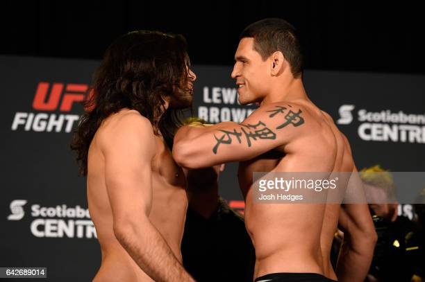 Elias Theodorou of Canada and Cezar Ferreira of Brazil face off during the UFC Fight Night weighin at the World Trade Convention Centre on February...