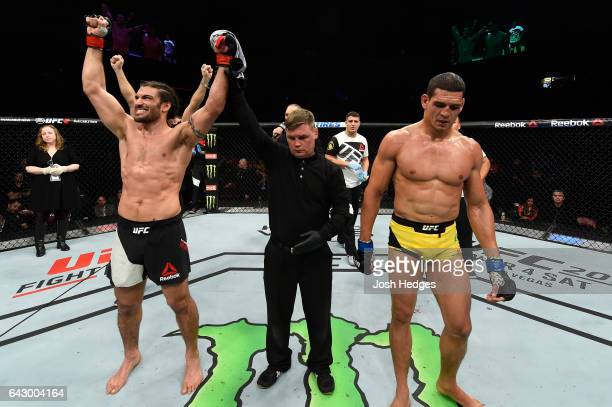 Elias Theodorou of Canada celebrates after defeating Cezar Ferreira of Brazil in their middleweight fight during the UFC Fight Night event inside the...