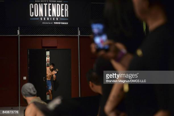 Elias Urbina enters from backstage prior to facing Bevon Lewis in their middleweight bout during Dana White's Tuesday Night Contender Series at the...