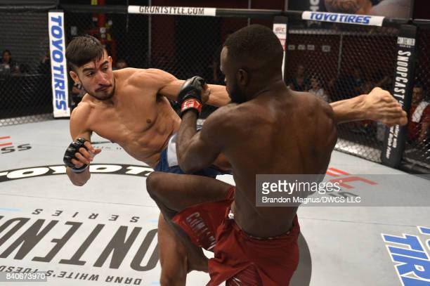 Elias Urbina kicks Bevon Lewis in their middleweight bout during Dana White's Tuesday Night Contender Series at the TUF Gym on August 29 2017 in Las...