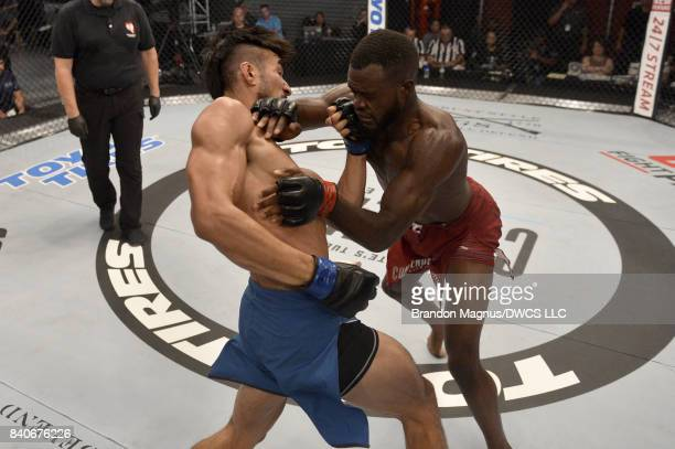 Elias Urbina lands an uppercut against Bevon Lewis in their middleweight bout during Dana White's Tuesday Night Contender Series at the TUF Gym on...