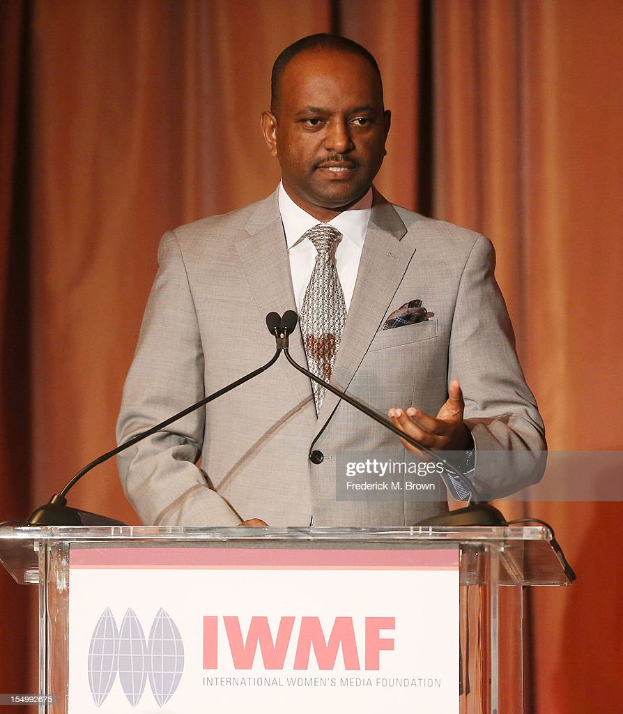 Elias Wondimu speaks during the 2012 International Women's Media Foundation's Courage In Journalism Awards at The Beverly Hills Hotel on October 29, 2012 in Beverly Hills, California.