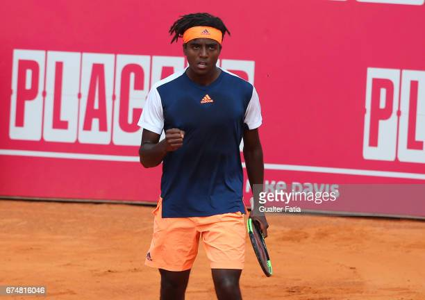 Elias Ymer celebrates winning a point during the match between Joao Monteiro from Portugal and Elias Ymer from Sweden for Millennium Estoril Open at...