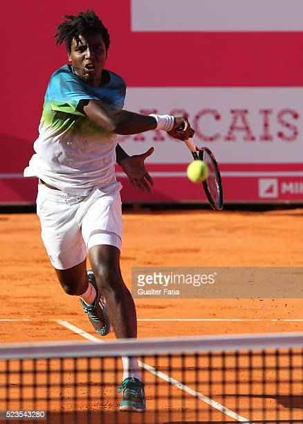 Elias Ymer from Sweden in action during the match between Elias Ymer and Rui Machado for Millennium Estoril Open at Clube de Tenis do Estoril on...