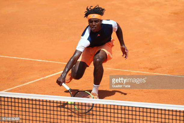 Elias Ymer in action during the match between Joao Monteiro from Portugal and Elias Ymer from Sweden for Millennium Estoril Open at Clube de Tenis do...