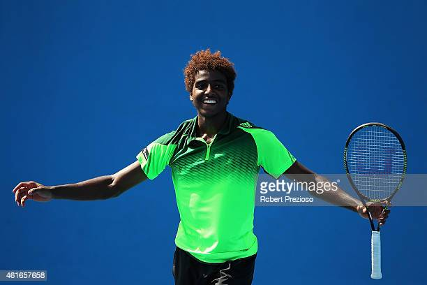 Elias Ymer of Sweden celebrates winning in his qualifying match against Hyeon Chung of Korea for 2015 Australian Open at Melbourne Park on January 17...