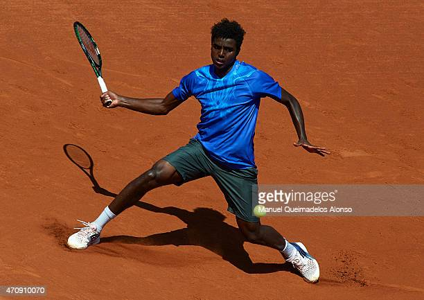 Elias Ymer of Sweden in action against EDavid Ferrer of Spain during day four of the Barcelona Open Banc Sabadell at the Real Club de Tenis Barcelona...