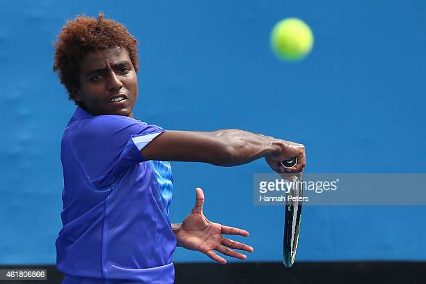 Elias Ymer of Sweden plays a backhand in his first round match against Go Soeda of Japan during day two of the 2015 Australian Open at Melbourne Park...