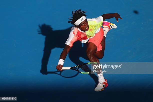Elias Ymer of Sweden plays a forehand during his first round match against Jordan Thompson of Australia during day one of the 2017 Brisbane...
