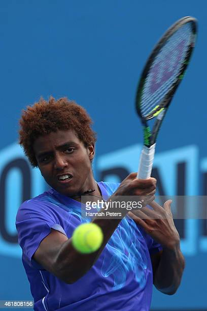Elias Ymer of Sweden plays a forehand in his first round match against Go Soeda of Japan during day two of the 2015 Australian Open at Melbourne Park...