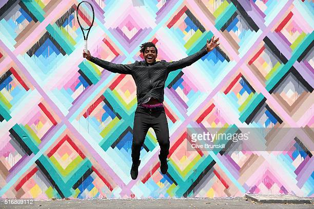 Elias Ymer of Sweden poses for a photograph at the Wynwood Walls in Miami prior to the Miami Open Presented by Itau at Crandon Park Tennis Center at...