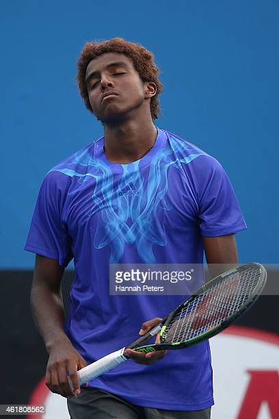 Elias Ymer of Sweden reacts in his first round match against Go Soeda of Japan during day two of the 2015 Australian Open at Melbourne Park on...