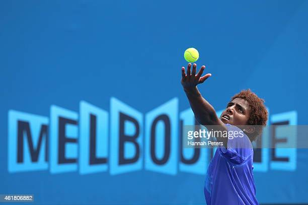 Elias Ymer of Sweden serves in his first round match against Go Soeda of Japan during day two of the 2015 Australian Open at Melbourne Park on...