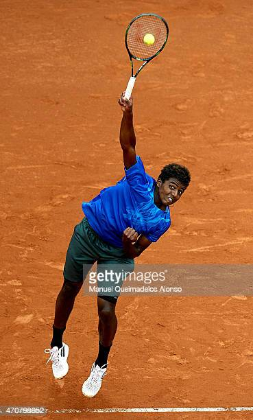 Elias Ymer of Sweden serves to Nick Kyrgios of Australia during day three of the Barcelona Open Banc Sabadell at the Real Club de Tenis Barcelona on...