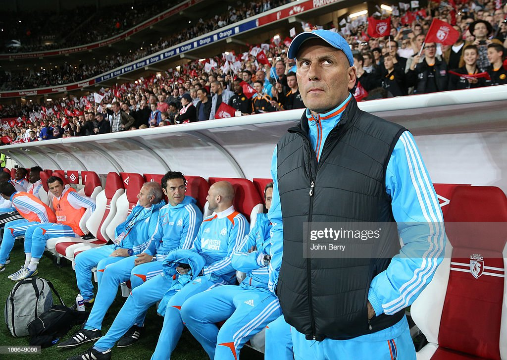 <a gi-track='captionPersonalityLinkClicked' href=/galleries/search?phrase=Elie+Baup&family=editorial&specificpeople=536928 ng-click='$event.stopPropagation()'>Elie Baup</a>, coach of Marseille looks on during the french Ligue 1 match between Lille OSC, LOSC, and Olympique de Marseille, OM, at the Grand Stade Lille Metropole on April 14, 2013 in Lille, France.