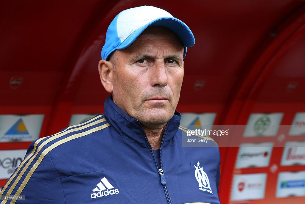 <a gi-track='captionPersonalityLinkClicked' href=/galleries/search?phrase=Elie+Baup&family=editorial&specificpeople=536928 ng-click='$event.stopPropagation()'>Elie Baup</a>, coach of Marseille looks on during the French Ligue 1 match between Valenciennes FC and Olympique de Marseille OM at the Stade du Hainaut stadium on August 24, 2013 in Valenciennes, France.