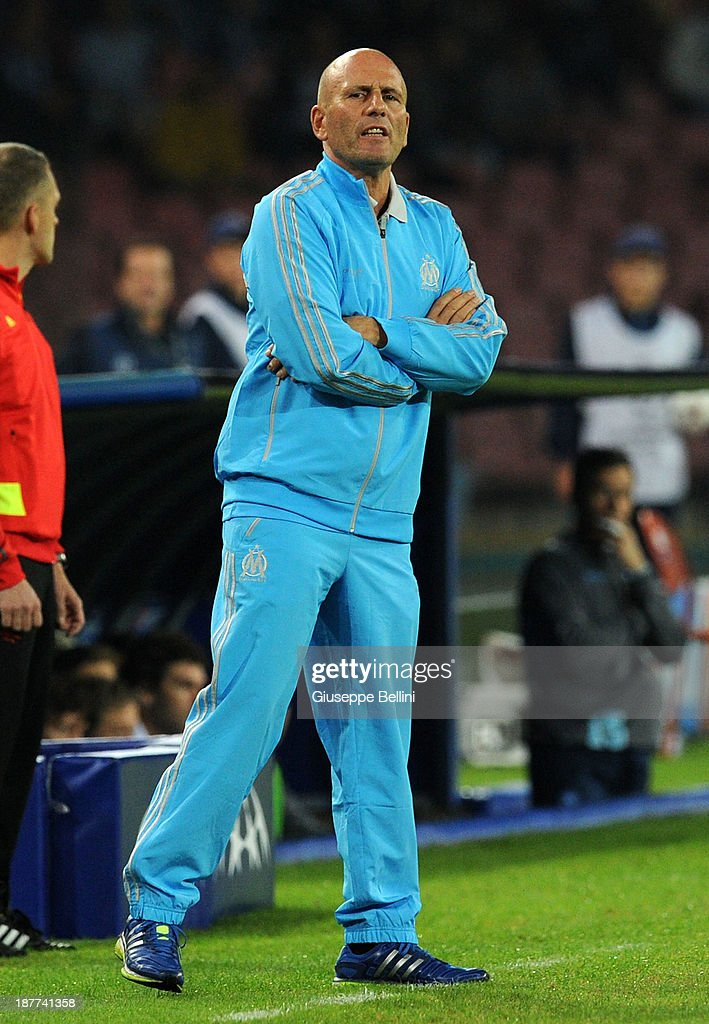 <a gi-track='captionPersonalityLinkClicked' href=/galleries/search?phrase=Elie+Baup&family=editorial&specificpeople=536928 ng-click='$event.stopPropagation()'>Elie Baup</a> head coach of Olympique de Marseille during the UEFA Champions League Group F match between SSC Napoli and Olympique de Marseille at Stadio San Paolo on November 6, 2013 in Naples, Italy.