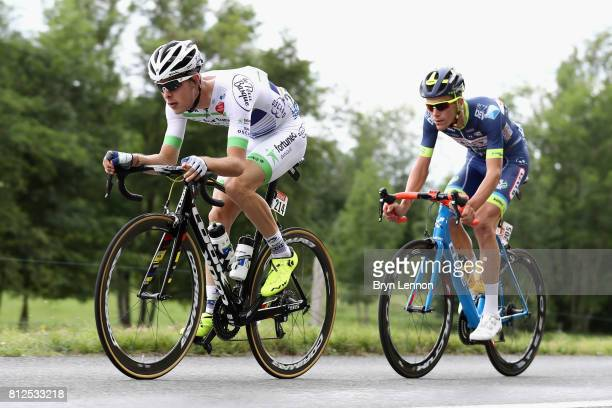 Elie Gesbert of France riding for Team FortuneoOscaro and Yoann Offredo of France riding for WantyGroupe Gobert break away from the peloton during...