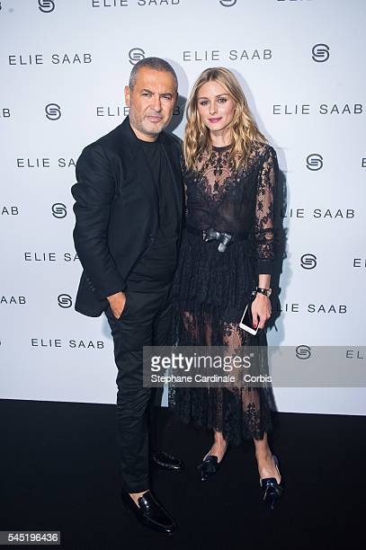 Elie Saab and Olivia Palermo attend the Elie Saab Haute Couture Fall/Winter 20162017 show as part of Paris Fashion Week on July 6 2016 in Paris France