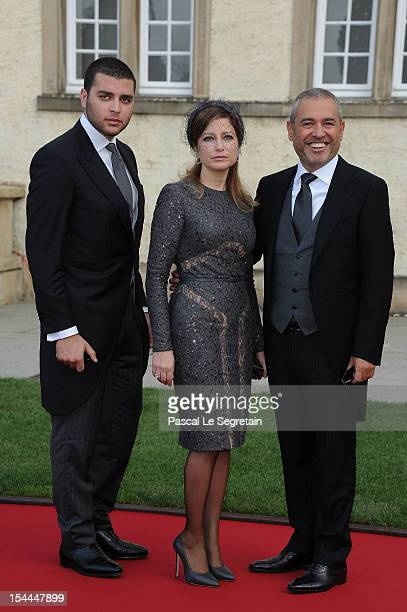 Elie Saab Jr designer Elie Saab and wife attend the wedding ceremony of Prince Guillaume Of Luxembourg and Princess Stephanie of Luxembourg at the...