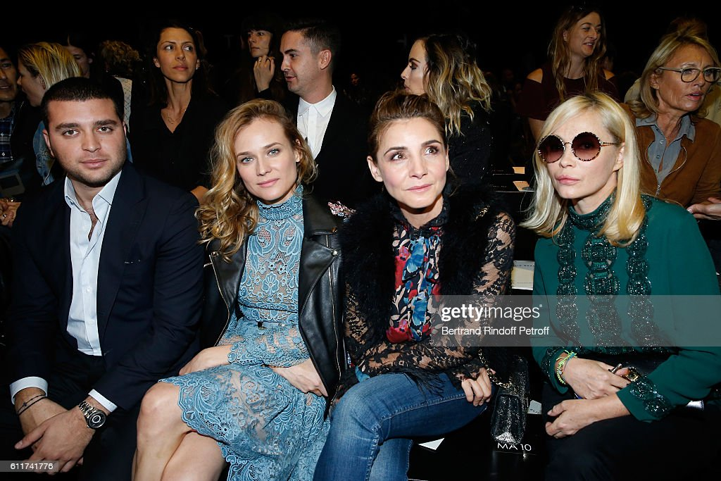 Elie Saab junior, Diane Kruger, Princess of Savoy Clotilde Courau and Emmanuelle Beart attend the Elie Saab show as part of the Paris Fashion Week Womenswear Spring/Summer 2017 on October 1, 2016 in Paris, France.