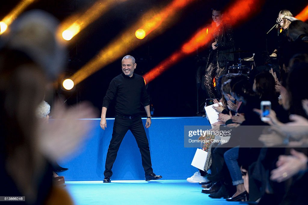 Elie Saab poses on the runway during the Elie Saab show as part of the Paris Fashion Week Womenswear Fall/Winter 2016/2017 on March 5, 2016 in Paris, France.