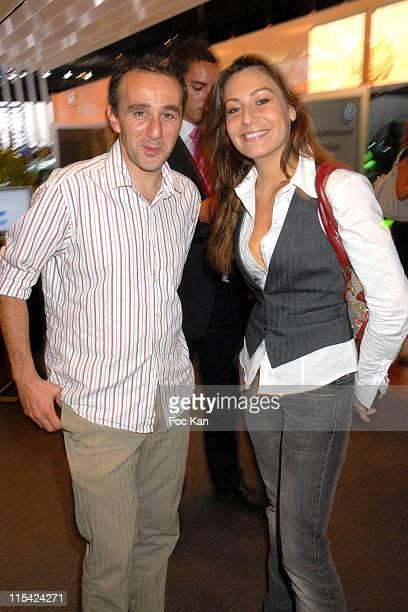 Elie Semoun and Shirley Bousquet during Paris Salon de L Auto 2006 The Volkswagen Cocktail September 28 2006 at Parc des Expositions de Versailles in...